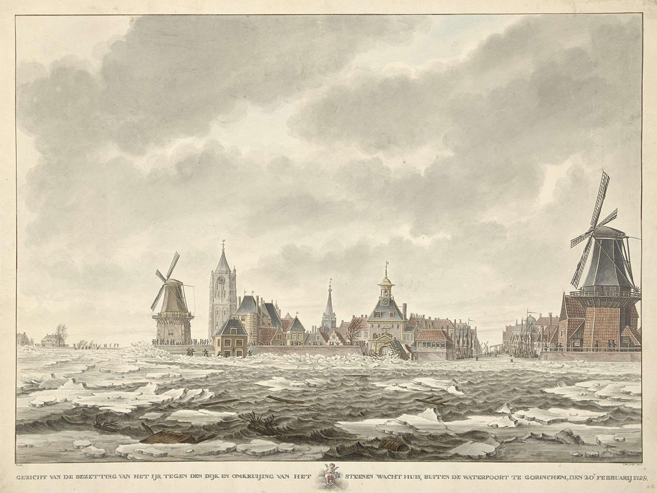 Gezicht van de bezetting van het ijs buiten de Waterpoort te Gorinchem, den 20.n Februarij 1799, Cornelis de Jonker, 1807