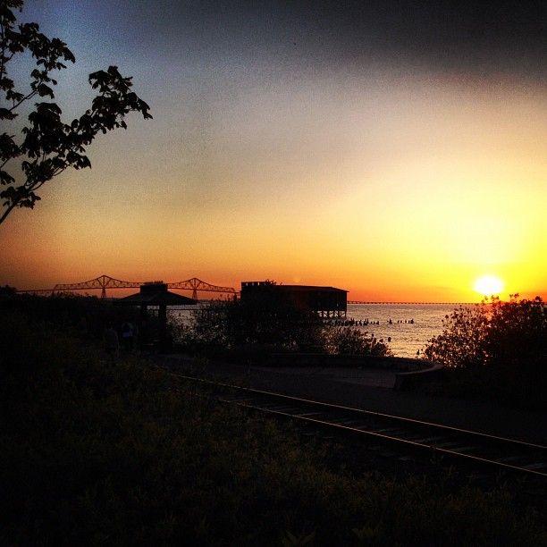 Astoria, OR at sunset.