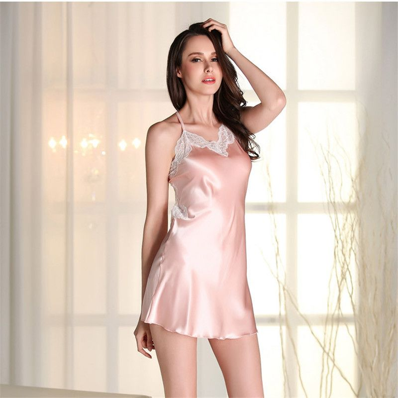 5c19a2bce1f3 mini Nightdress Lace Slip Dress Satin Sleepwear Sexy Nightgowns Artificial  Silk Nightie Women s Lingerie plus size SY320-7405