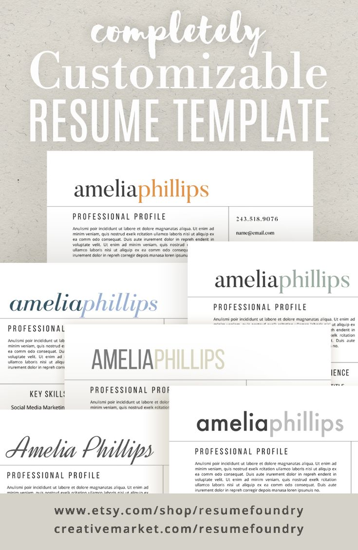 Modern Resume Template - the Amelia | Fonts, Letter templates and ...