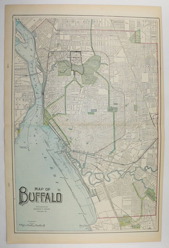original vintage map of buffalo ny toledo map cleveland oh 1902 antique map city street map vintage art map for home decor office gift available from