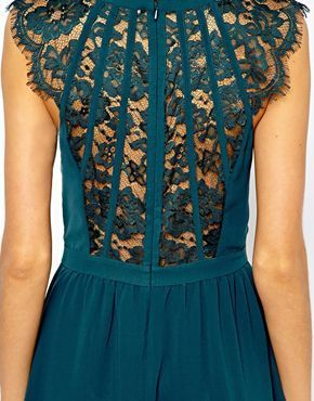 Warehouse Lace Back Soft Dress | emerald green color | fitted waist | scalloped lace cap sleeves short-sleeves | sheer back