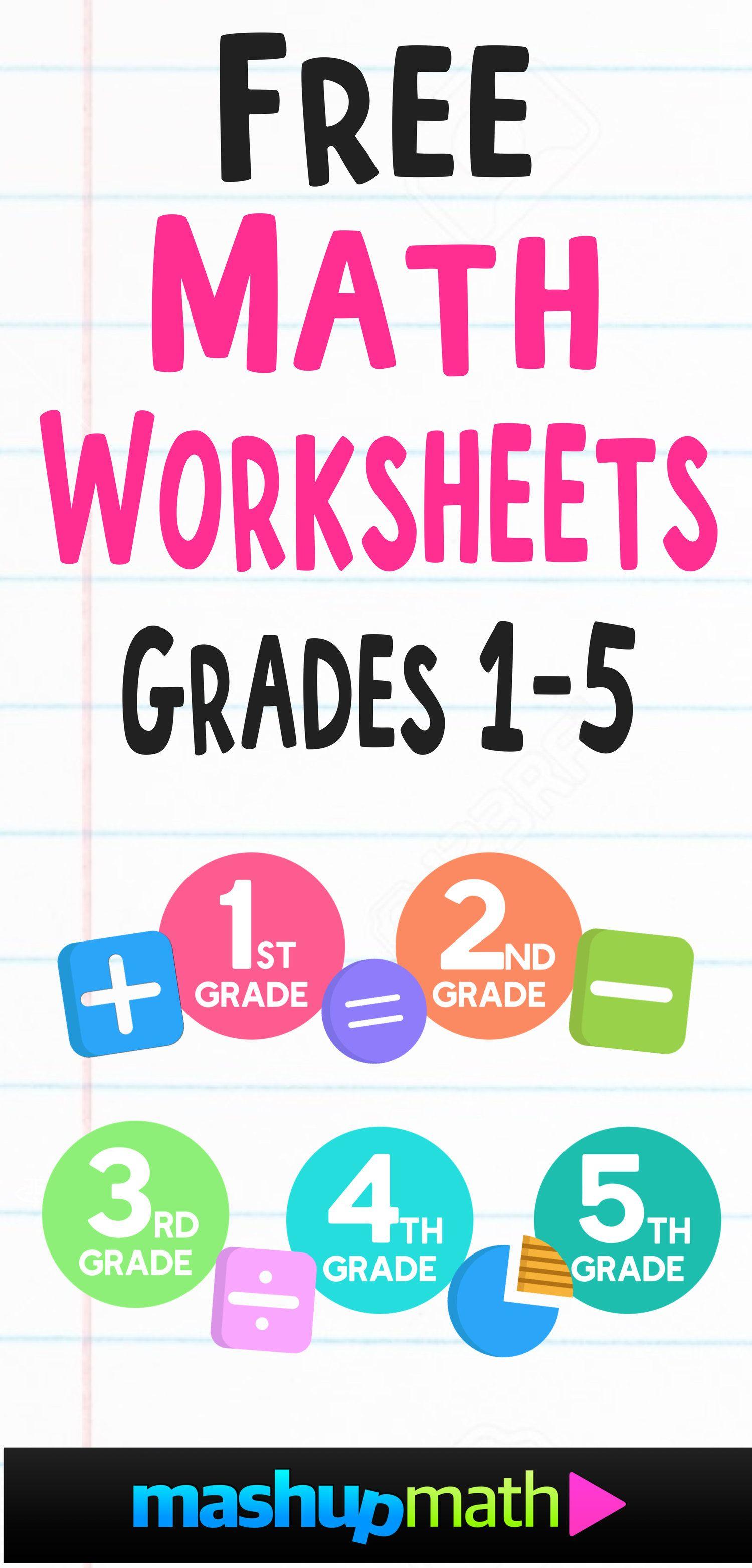 Free Math Worksheets Mashup Math