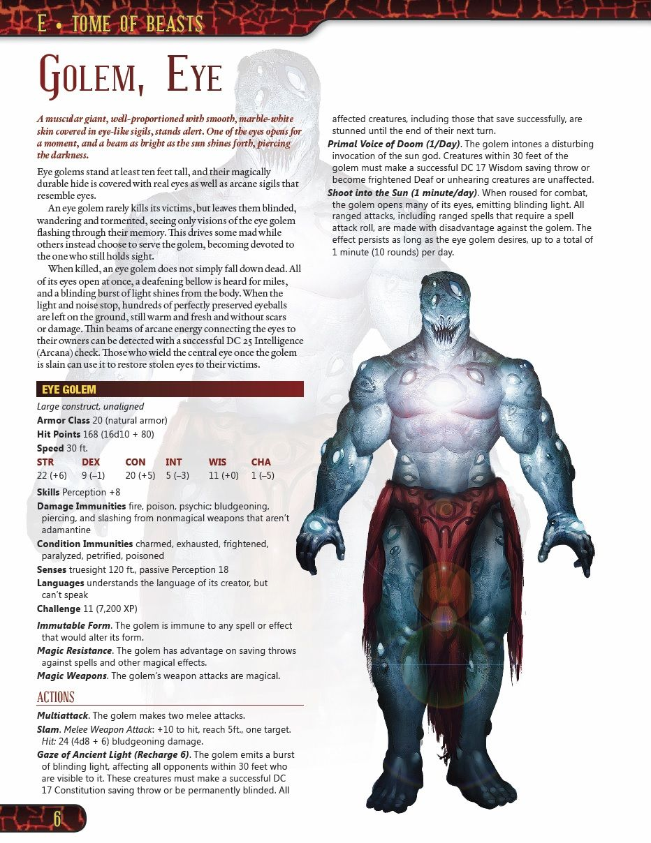 Eye Golem, from Tome of Beast by koboldpress-Shaad | D&D