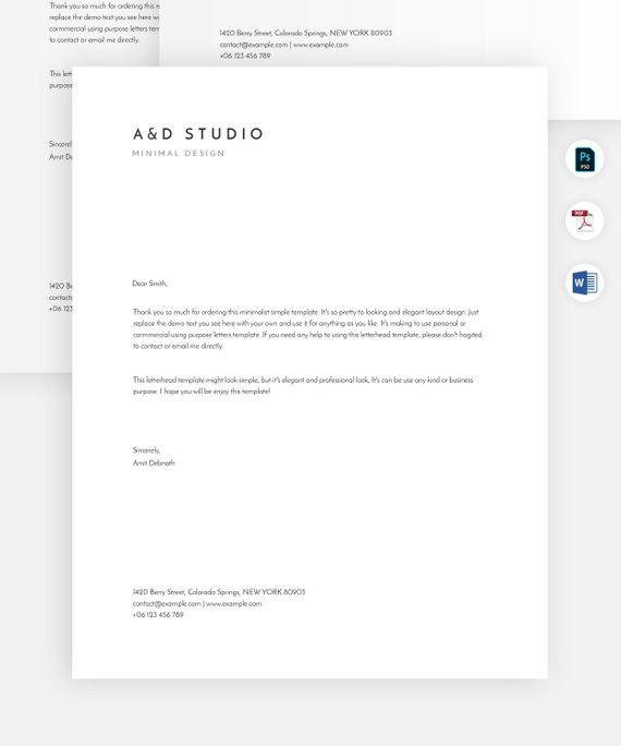 Minimal letterhead template   Simple and modern letterhead design   Professional letterhead, Microsoft word letterhead layout   Ms word doc.
