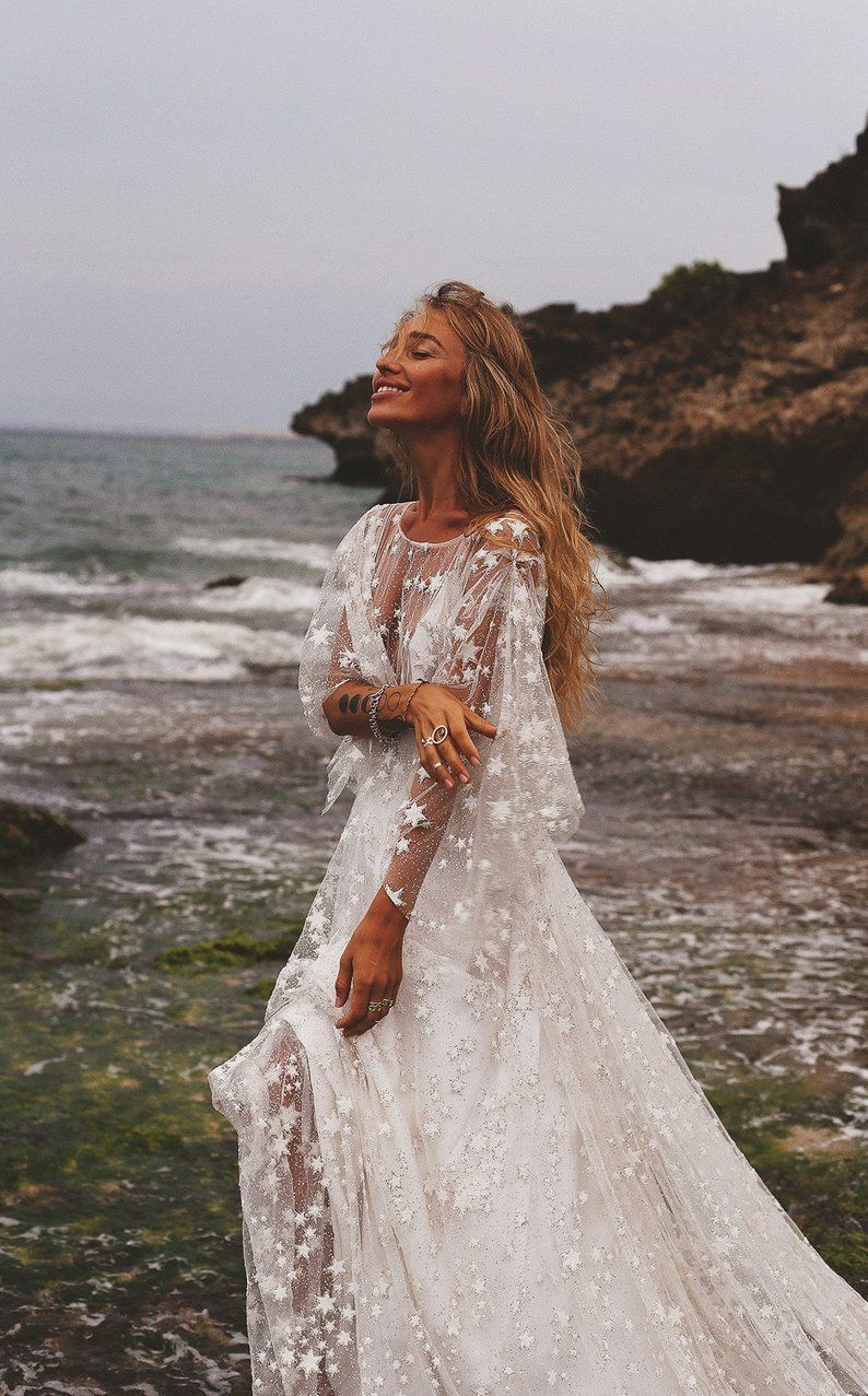 Counting Stars Boho Wedding Dress by Boom Blush. Unique Vintage Bohemian Backless Gown 2020 with Sleeves, Unique Lace and A Line Skirt