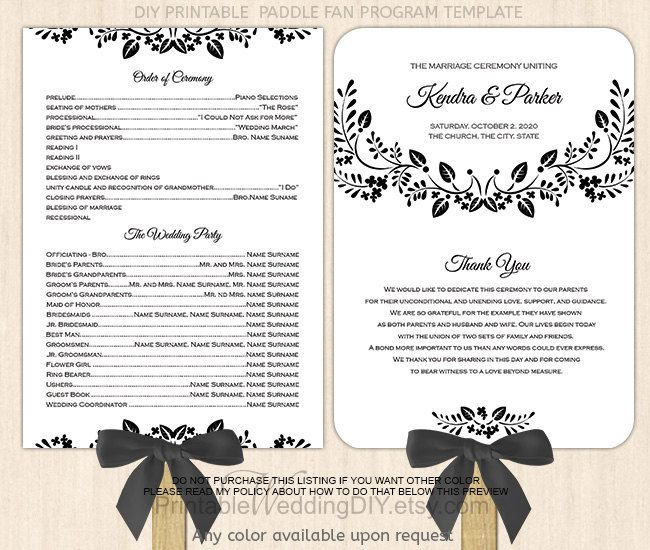 Black Spring Floral Paddle Fan Program Template