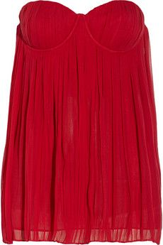 Alice   Olivia Jobe crinkled-silk chiffon bustier top | THE OUTNET