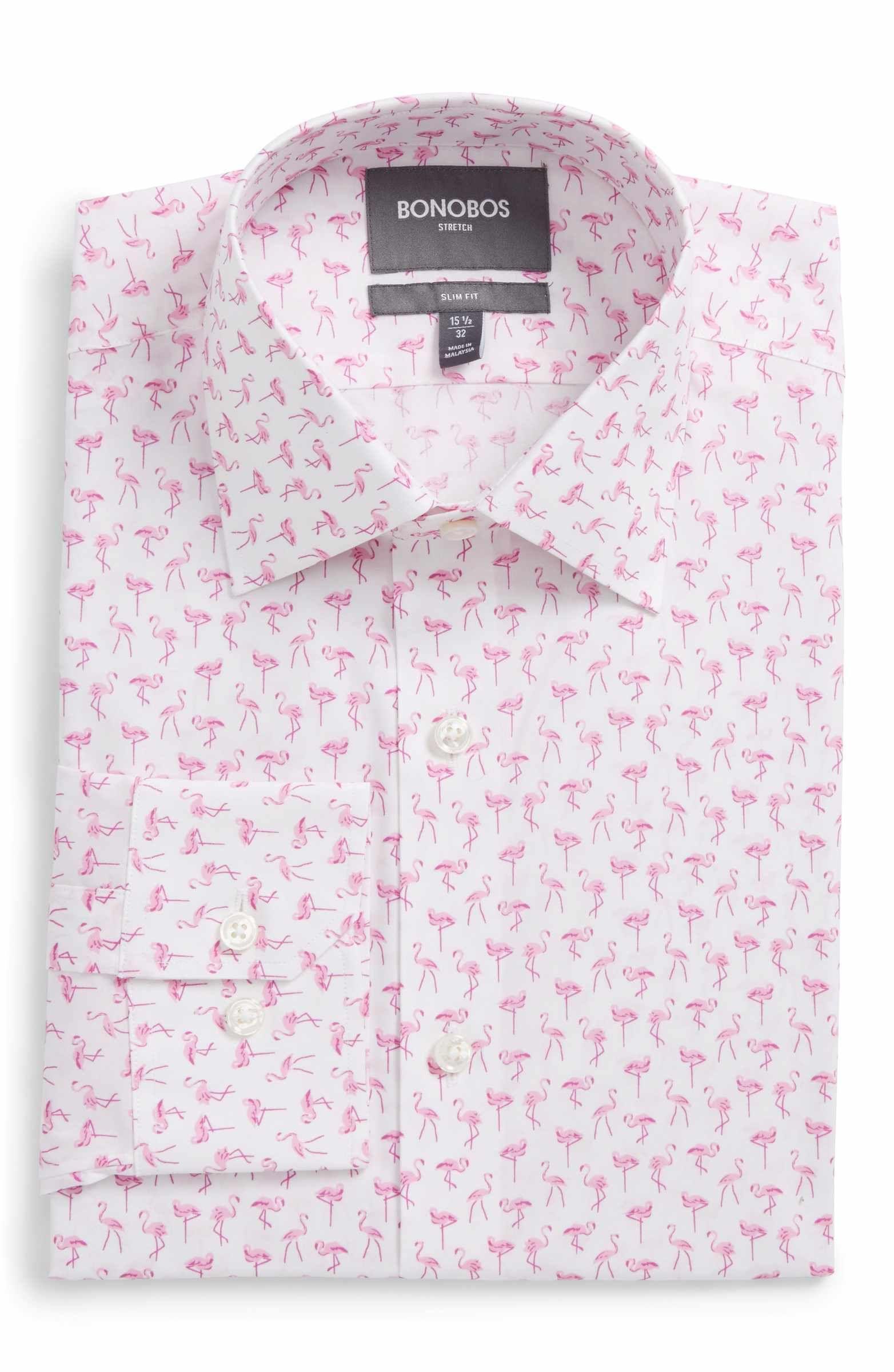 e714f695904 Nordstrom - Bonobos Slim Fit Stretch Flamingo Print Dress Shirt ...