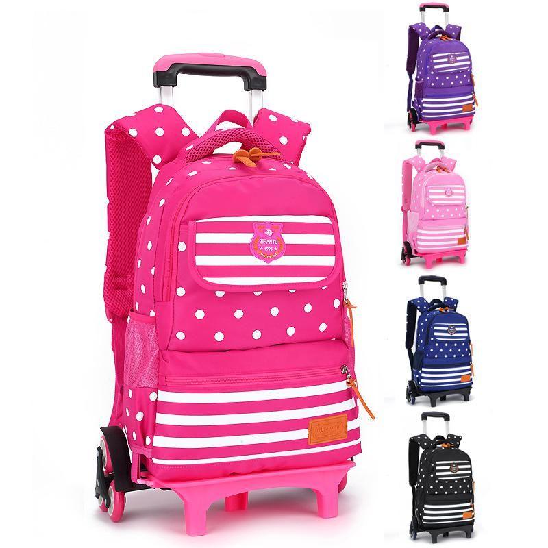 US Kids Children 6 Trolley Wheel Backpack Boy School Travel Luggage Racksack Bag