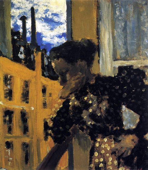 Marie at the Balcony Railing-Edouard Vuillard - 1893