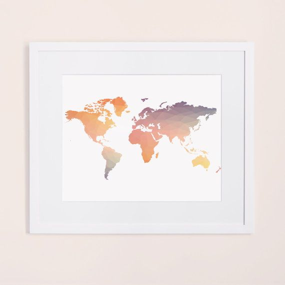 Colorful world map print pastel world map poster printable wall colorful world map print pastel world map poster printable wall art pastel poster geometrical world map print rainbow wall art gumiabroncs Images