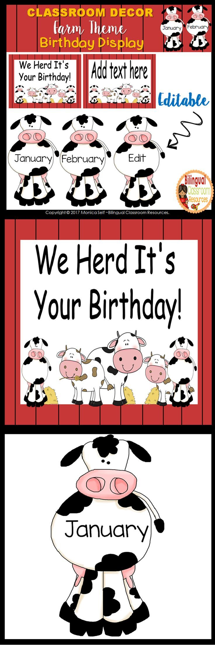 Farm Theme Birthday Display Clip Chart-Editable #birthdaymonth
