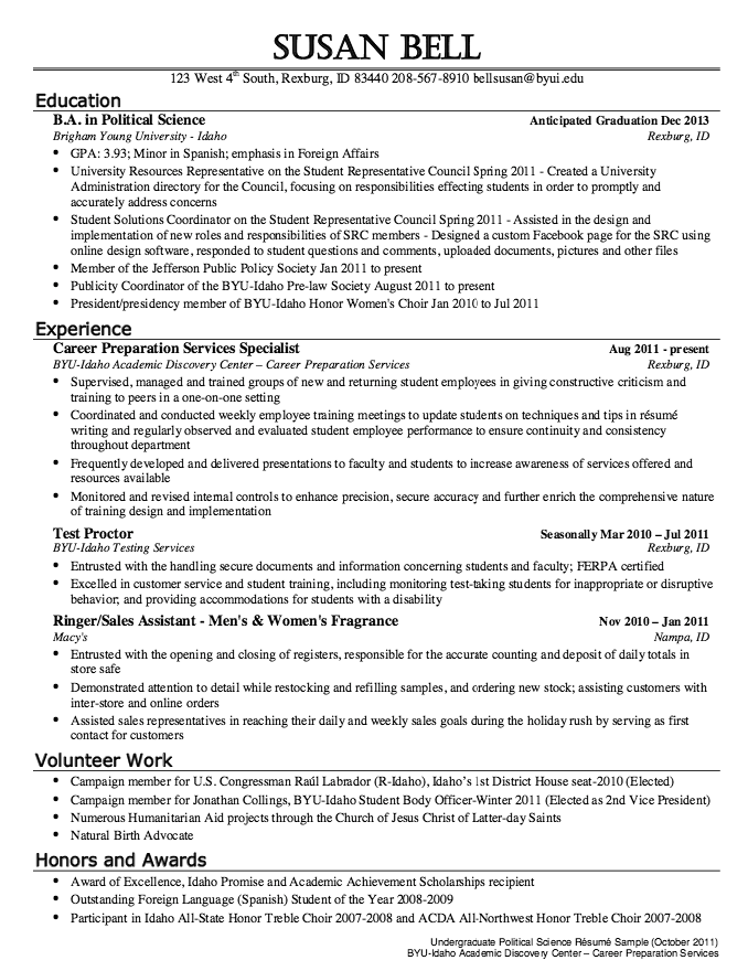 Political Science Resume Sample  HttpResumesdesignCom
