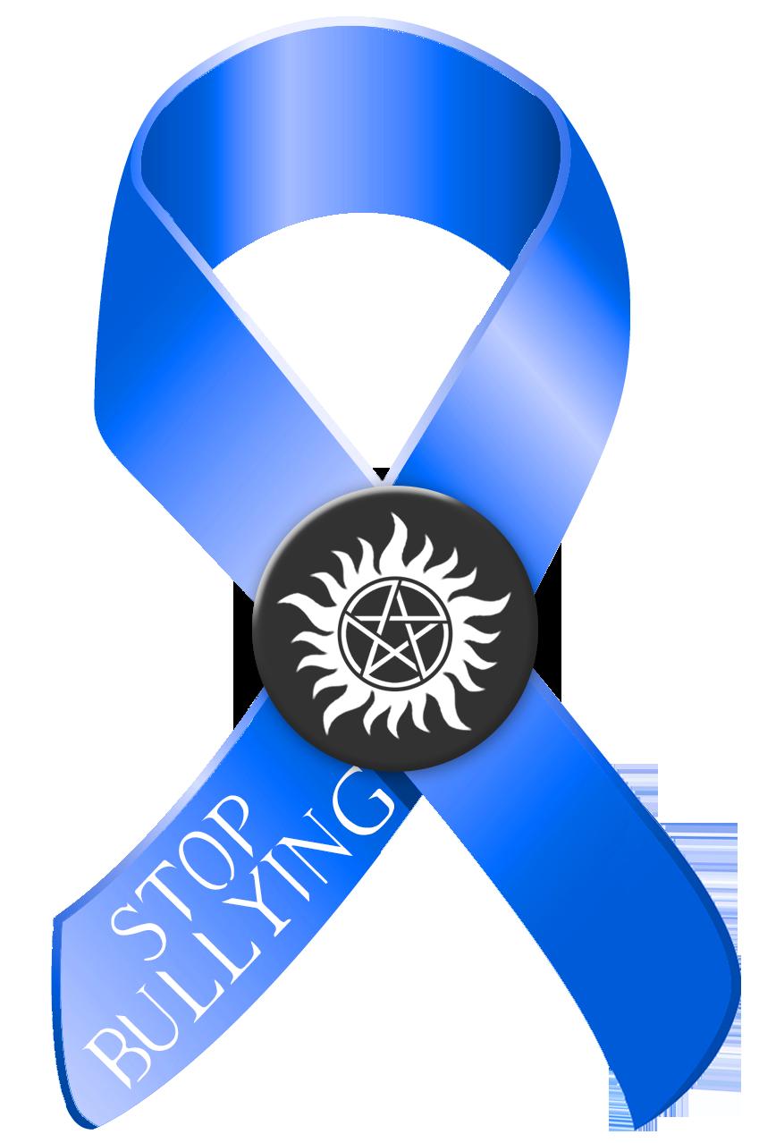 Stop Bullying Blue And Black Awareness Ribbon Logo Blue