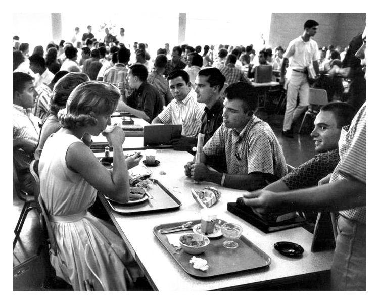 High school cafeteria in 1967 school cafeteria