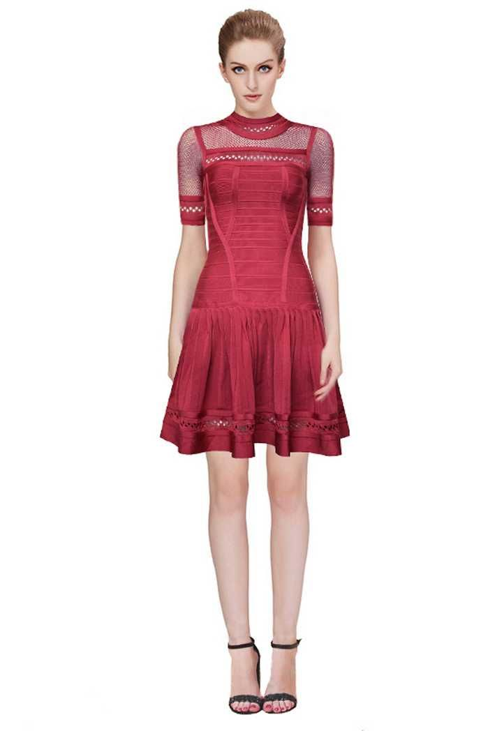 Herve Leger Wine Short Sleeve Bandage Dresses