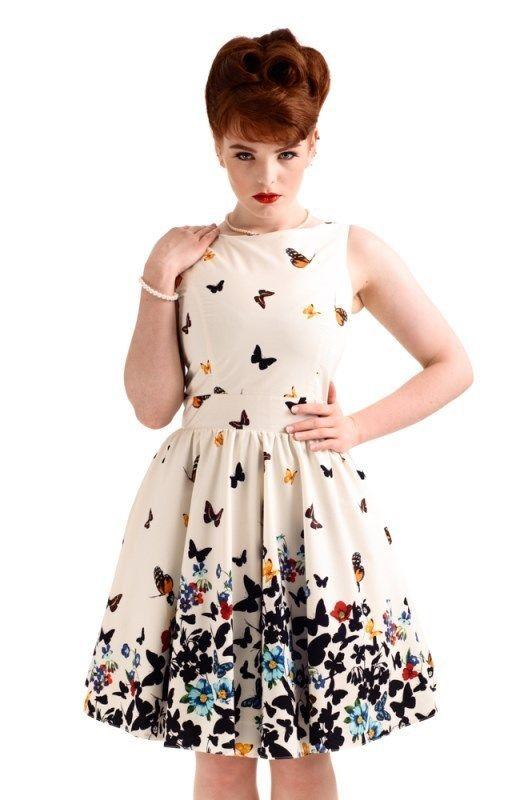 Lady Vintage 40er Jahre Retro Schmetterlinge Kleid - Butterfly - Weiß