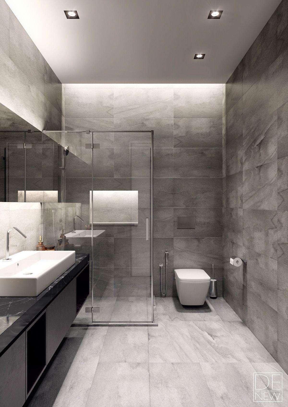 Elegant Bathroom Ideas Modern Grey Two Apartments With Texture E Soft E Sleek Top Bathroom Design Modern Bathroom Bathroom Interior Design