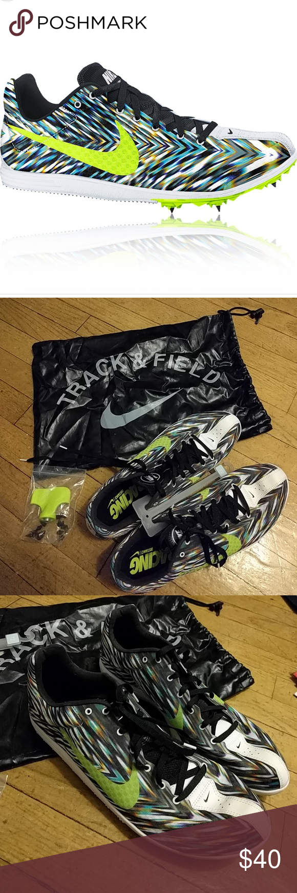 """Nwob Nike Rival D Track Racing Distance Shoes? This is NWOB. NEVER BEEN WORN.  Includes1/4"""" pyramid spikes (12 of them), dust bag, and a wrench key Nike Shoes Athletic Shoes"""