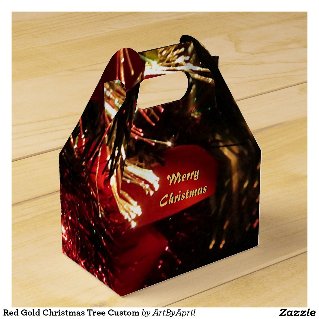 Red Gold #Christmas Tree Custom Party Favor Boxes @artbyapril1