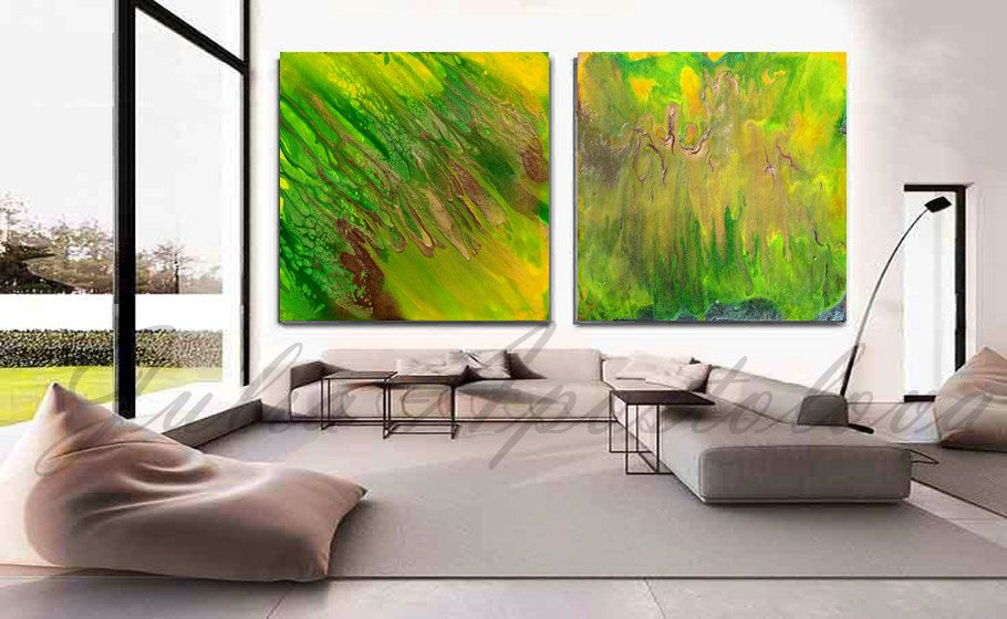 #90inch, #LargeArt #WallArt, #Diptych #Painting, #Green #Abstract #Art, #Zen #Decor, #Print, #TwoPiece #Set Art, #Watercolor #DiptychPainting, #Bright, #Green #Energy' by  #JuliaApostolova on #Etsy