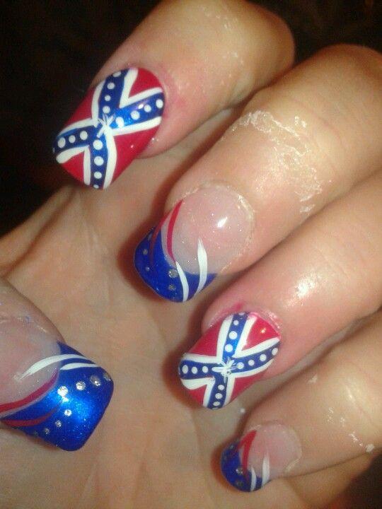 Confederate flag nails - Confederate Flag Nails Nails Pinterest Flag Nails
