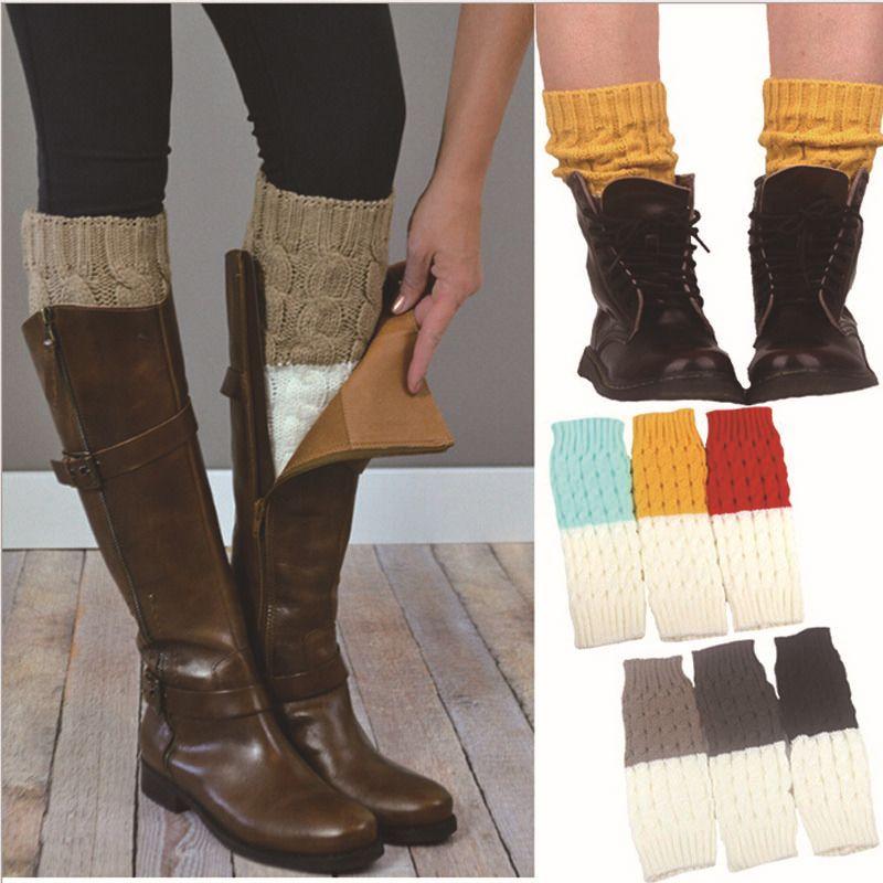 Mujer calentadores de la pierna calcetines de colores - Como hacer calcetines de lana ...