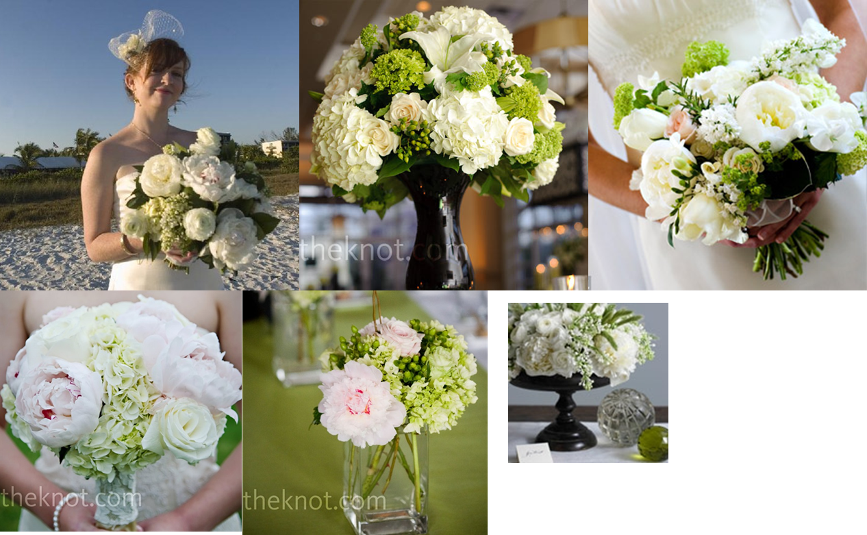Classic wedding flowers: cream, spring green, dark green, a little light pink, and dark brown/black containers.