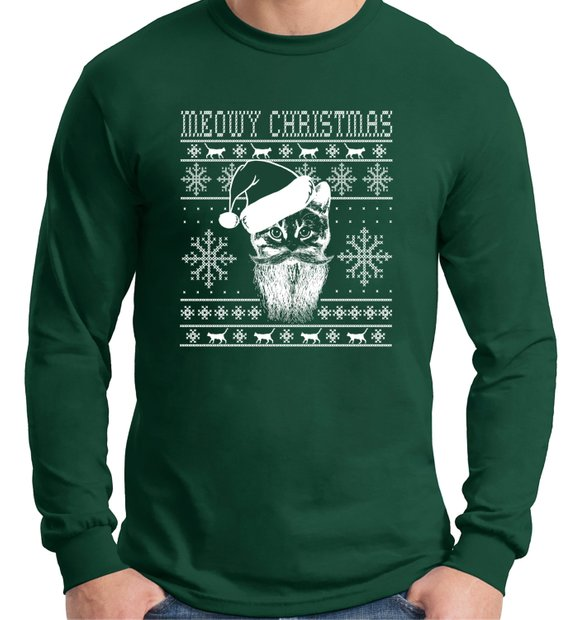 40aab433a Meowy Christmas Ugly Sweater design cat lover,Long Sleeve t- shirt, Cat  Lady , Christmas Gift,ugly C