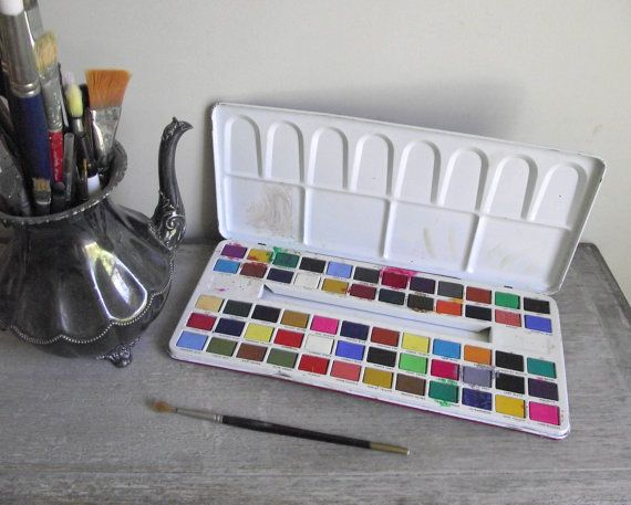 Fantasy Paint Box Vintage Watercolor Paint Tin Artist Paint Set By
