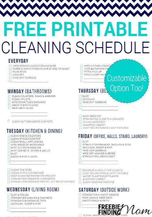 This Free Printable Cleaning Schedule Lists All The Essential Household Chores And Breaks Them Up Over A Course Of 6 Days Making It More