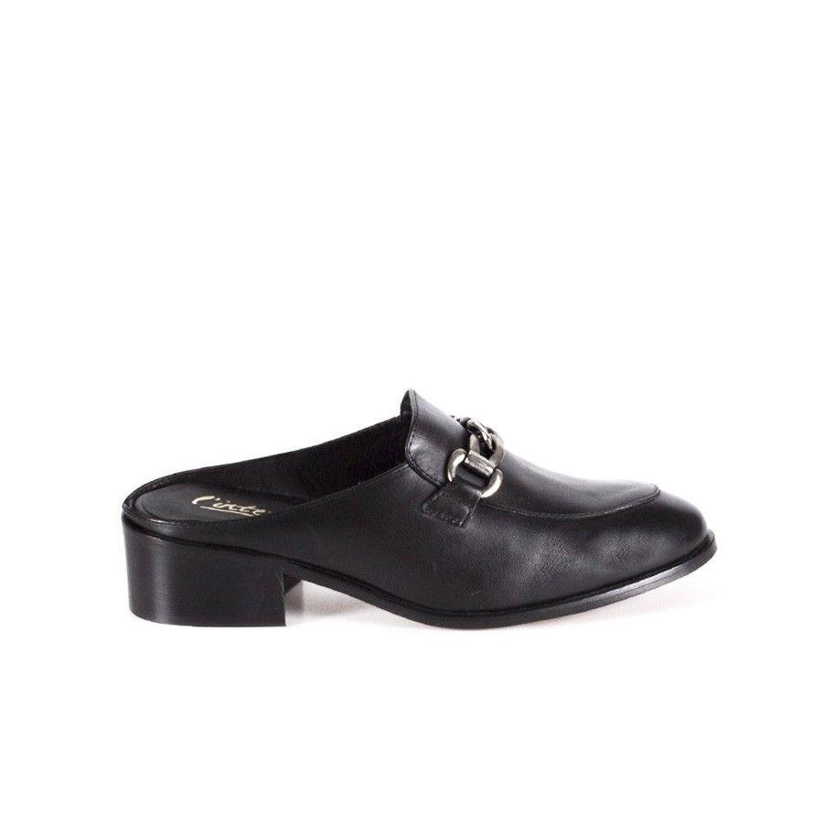 slipper-mules-black-leather-chain-endy