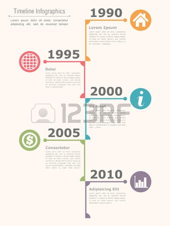Vertical Timeline Infographics Design Template Vector Eps