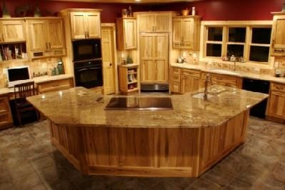 Hickory Kitchen Island Epoxy Commercial Flooring Rustic Knotty Cabinets Lodge Home Is