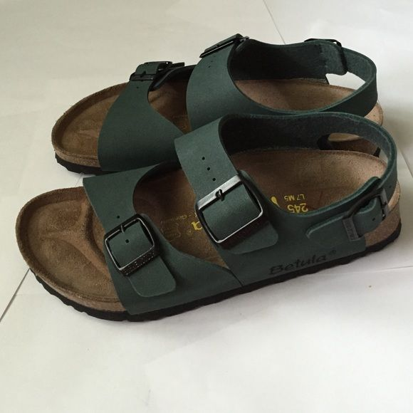 10f227ded613 Birkenstock Sandals! Birkenstock Milano Slingback sandals in dark green!  Betula made by Birkenstock. Excellent condition! Size 38 fits 7.5 8  comfortable ...