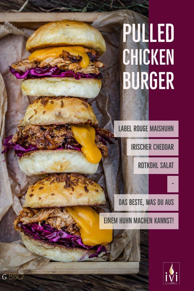 Pulled Chicken, das zerrupfte Huhn ist die zeitsparende Variante zum Pulled Pork, aber auch nicht weniger lecker! Pulled Chicken ist das Beste, was man aus einem Huhn machen kann!  #Foodblogger #PulledChicken #Burger #grillen #bbq