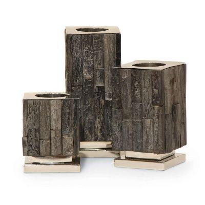 Black Petrified Wood Candlestand, Set of 3