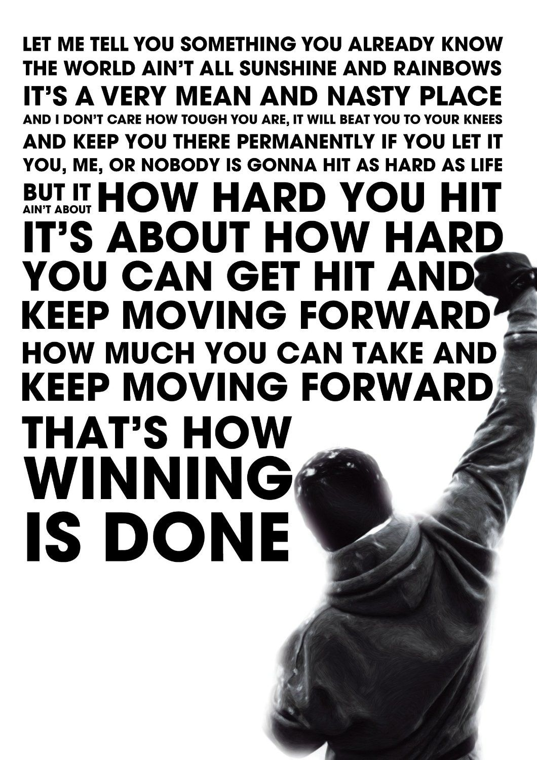 Rocky Inspired Motivational Inspirational Quote Poster (24 x 36 in ...