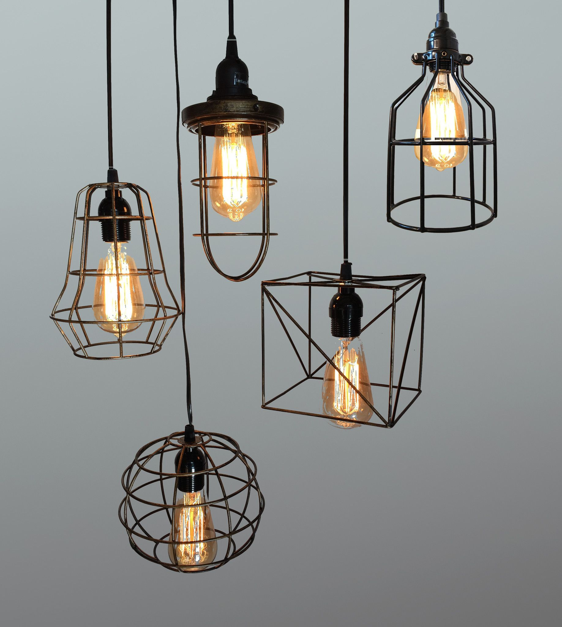 Product Image Rustic Pendant Lamp Light Industrial Cage Light