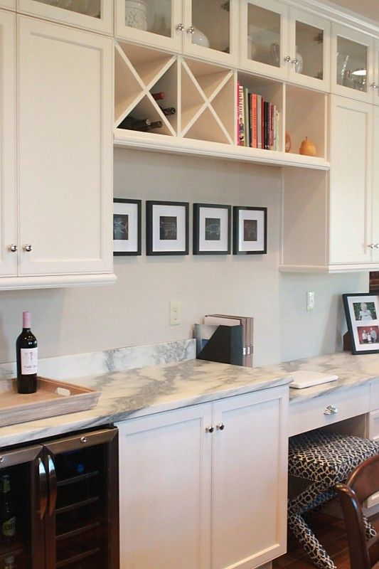 Jenny Steffens Hobick Jill S Kitchen White Marble Stained Island Cream Painted Gl Front Cabinets Polish Silver Hardwar