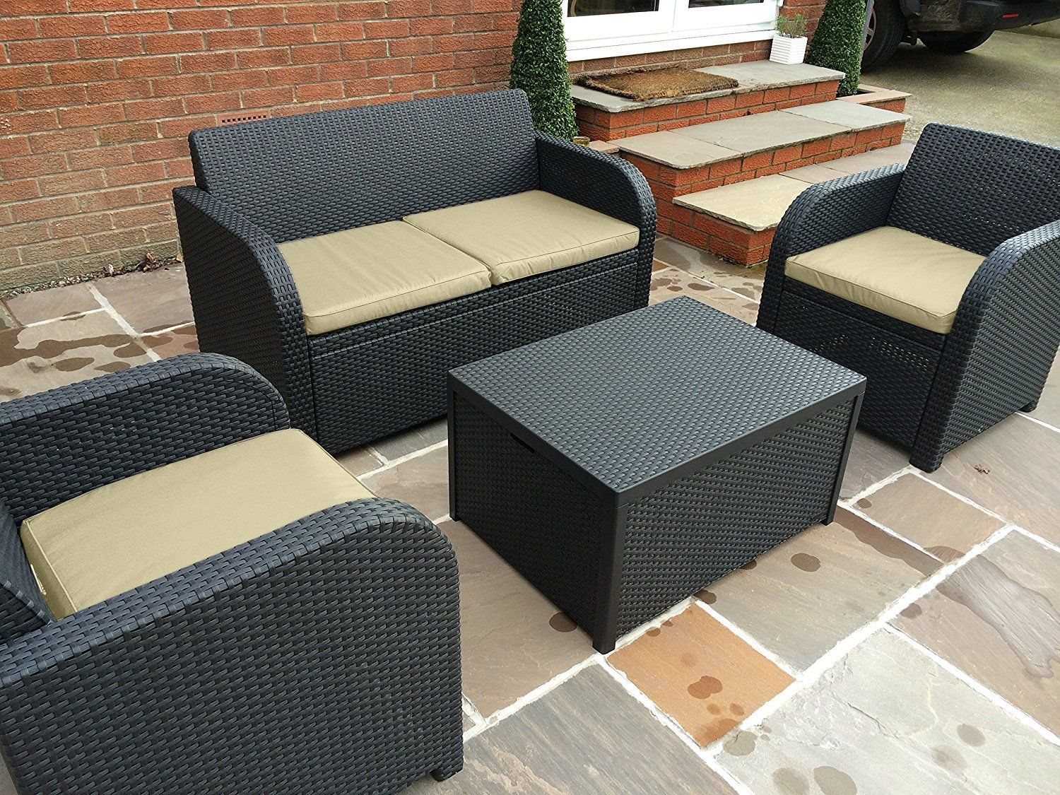 Garten Lounge Cube Family Keter Allibert Carolina Lounge Set With Cream Cushions In Anthracite