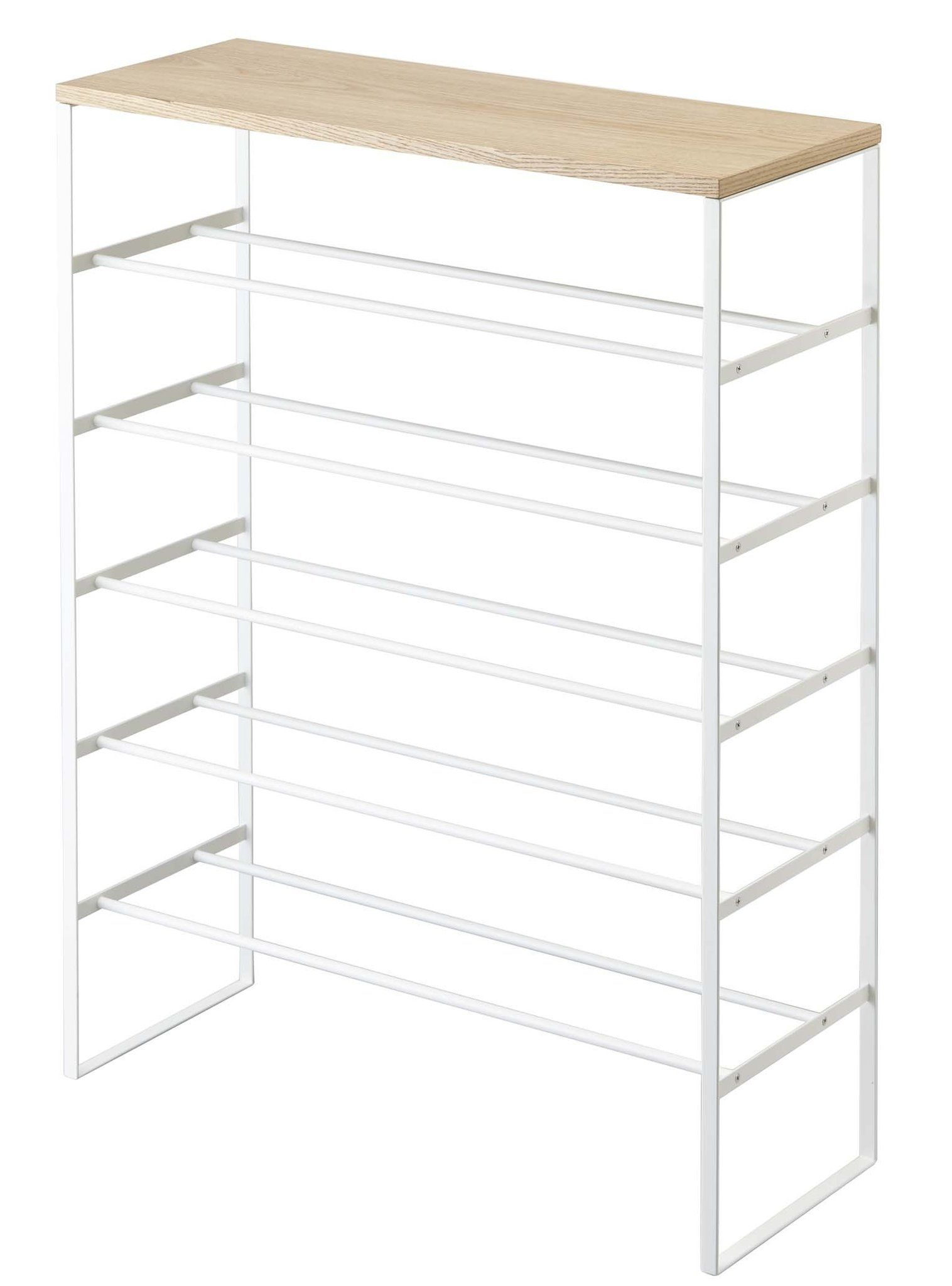 Tower 6 Tier Wood Top Shoe Rack In Various Colors Design By Yamazaki