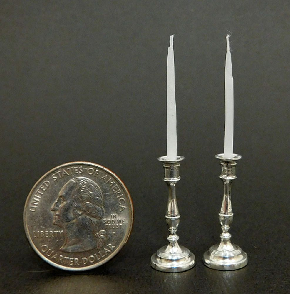Dollhouse Miniature Unfinished Metal Candlesticks