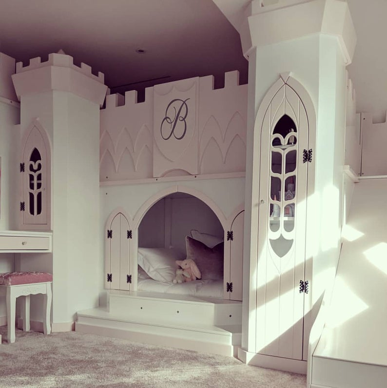 Hand made luxury castle bunk with same side stairs and