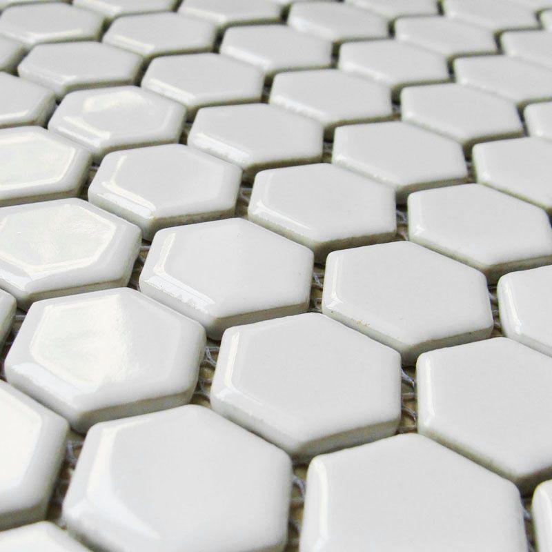 Small Hexagon Porcelain Tile White Shiny Porcelain Tile Slip