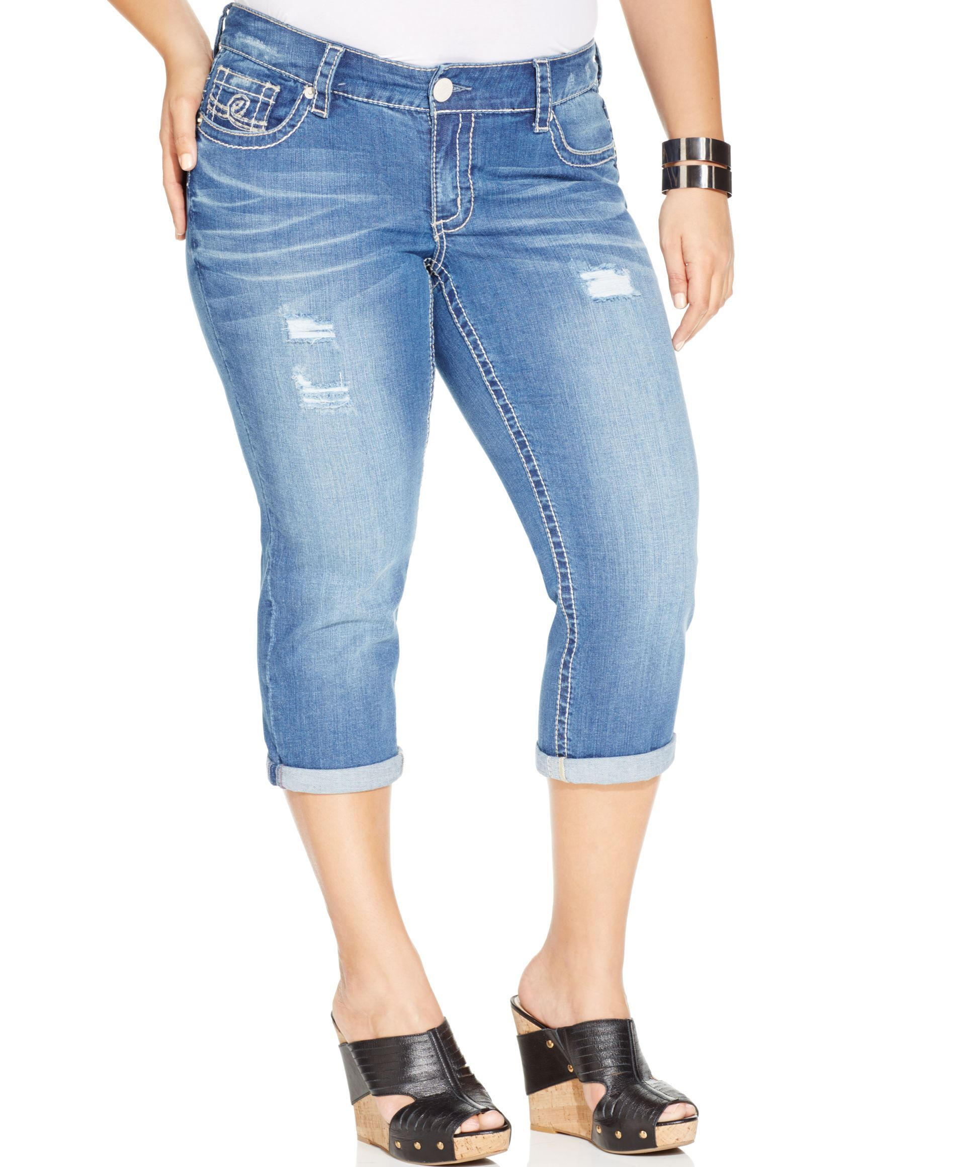 82557c97a2d Seven7 Jeans Plus Size Distressed Cropped Jeans