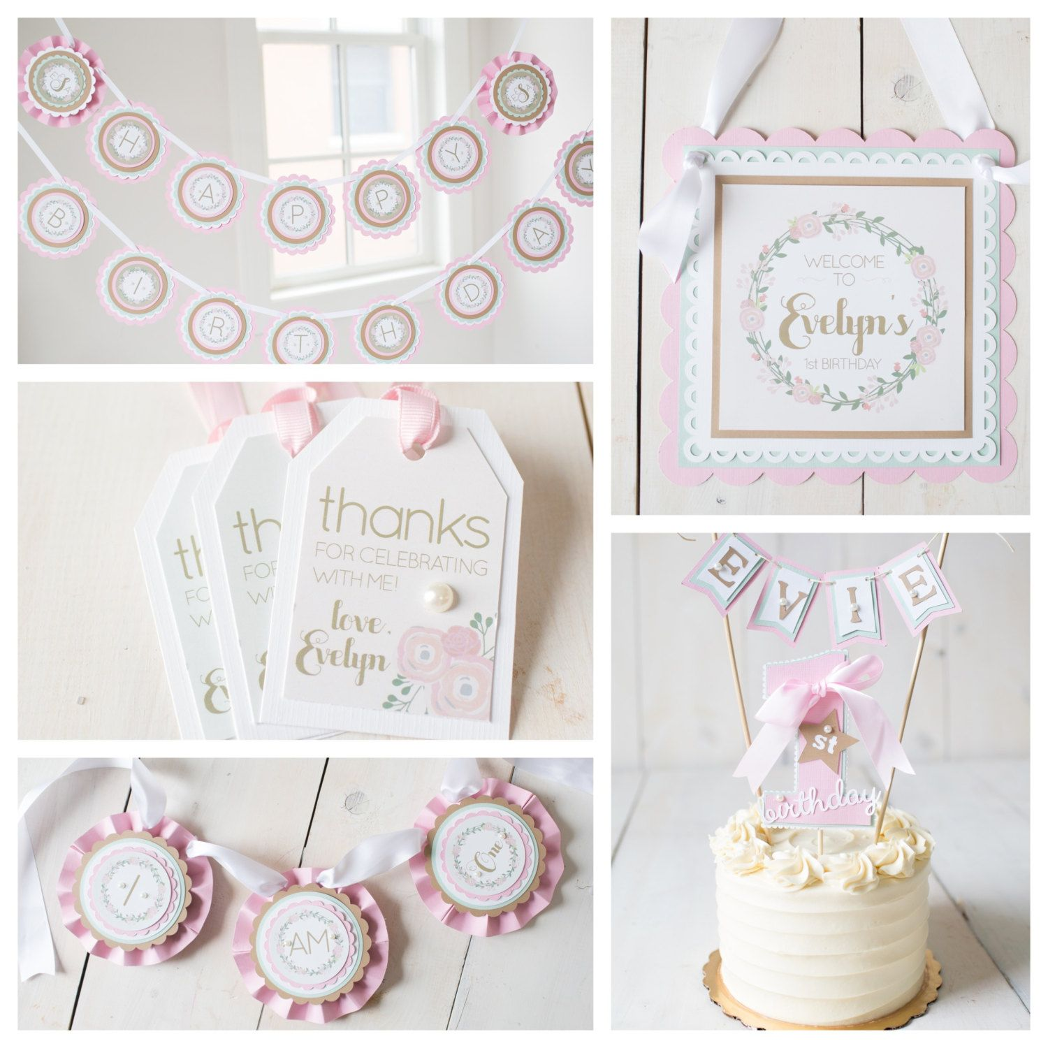 Girl 1st First Birthday Party Decorations Boutique 5 piece