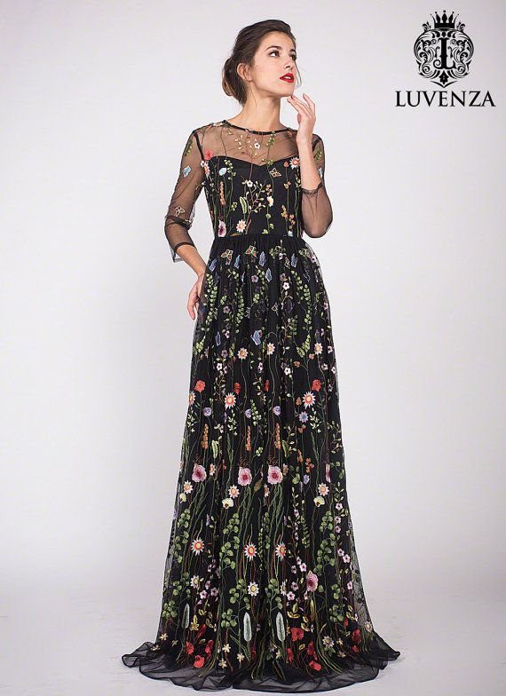 Three Quarter Sleeve Floral Embroidered Tulle Evening Gown