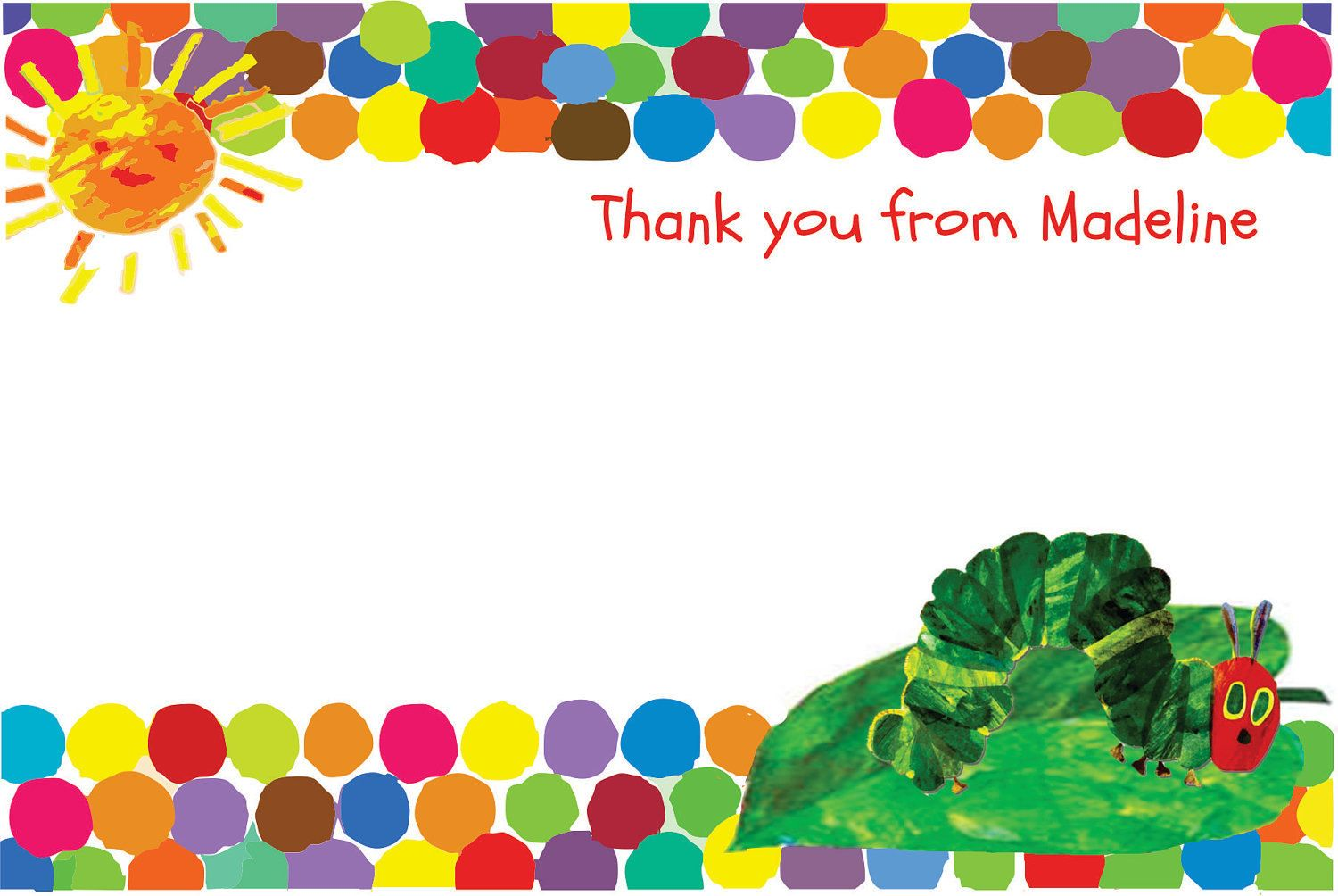 Custom printable a very hungry caterpillar birthday thank you card custom printable a very hungry caterpillar birthday thank you card 4x6 500 via etsy bookmarktalkfo Image collections